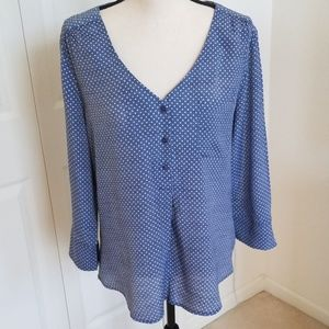 Fred David Blue Polka Dot Blouse